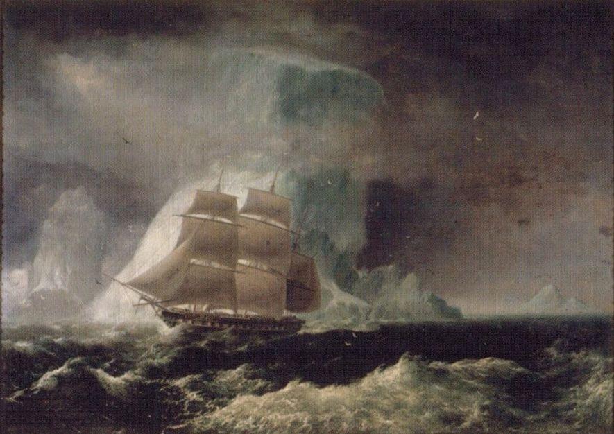 Óleo de Robert Dampier (1825) de la corbeta británica HMS Blonde, un navío muy parecido al malogrado Swift.