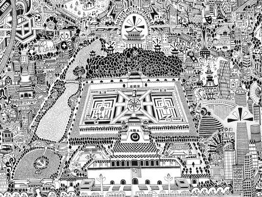 Contempla Pekín con todo lujo de detalles en este mapa dibujado a mano