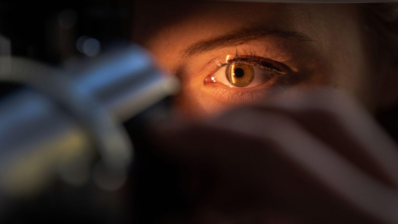 Un médico examina el ojo de un paciente