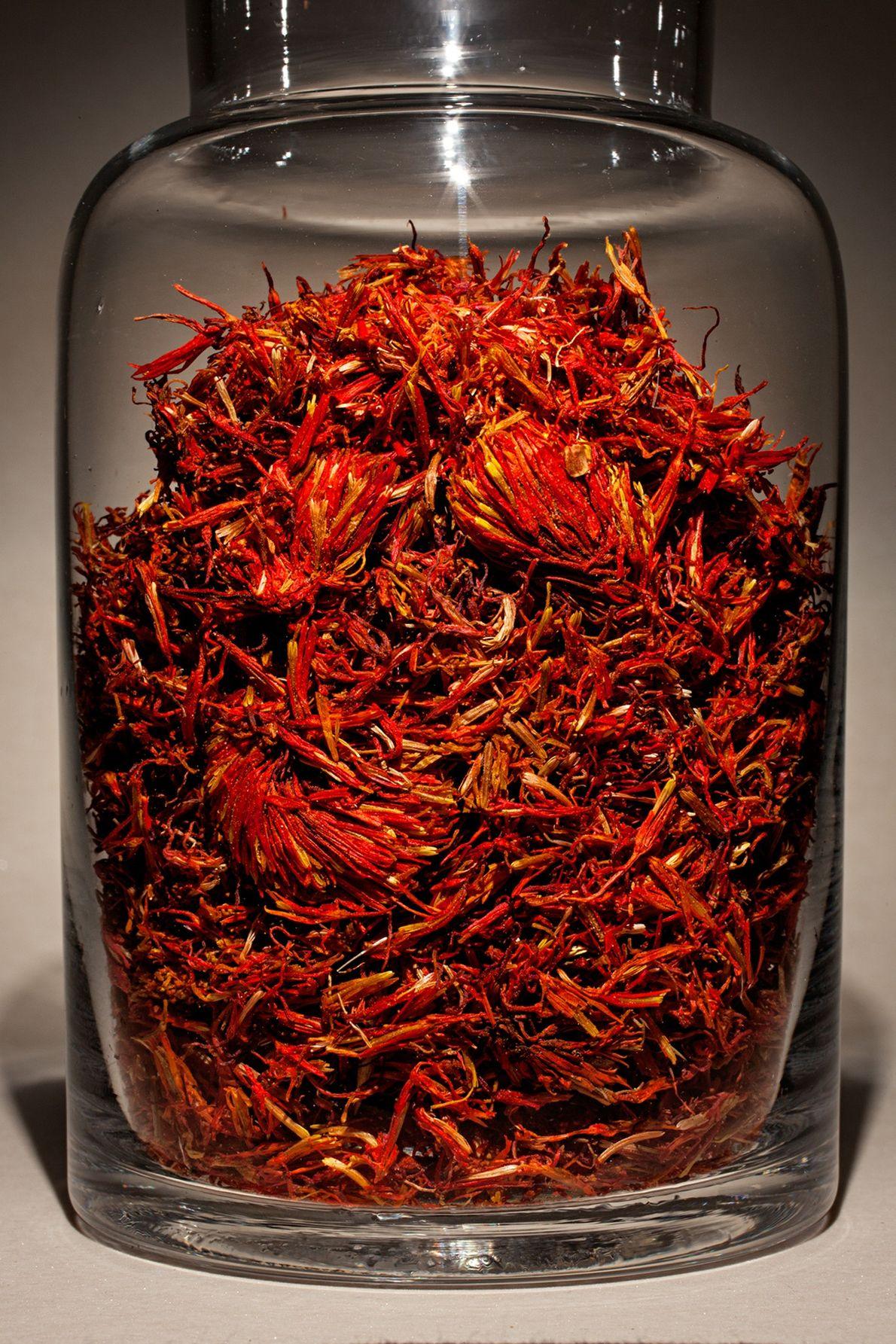 Nombre común: Cártamo o alazor  Latín: Carthamus tinctorius  Chino: Hong hua  Usos: Dolor posparto, úlceras cutáneas.
