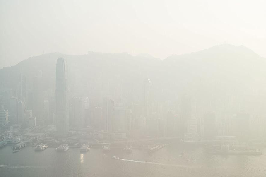 El perfil urbano de Hong Kong oculto en esmog el 9 de enero de 2017.
