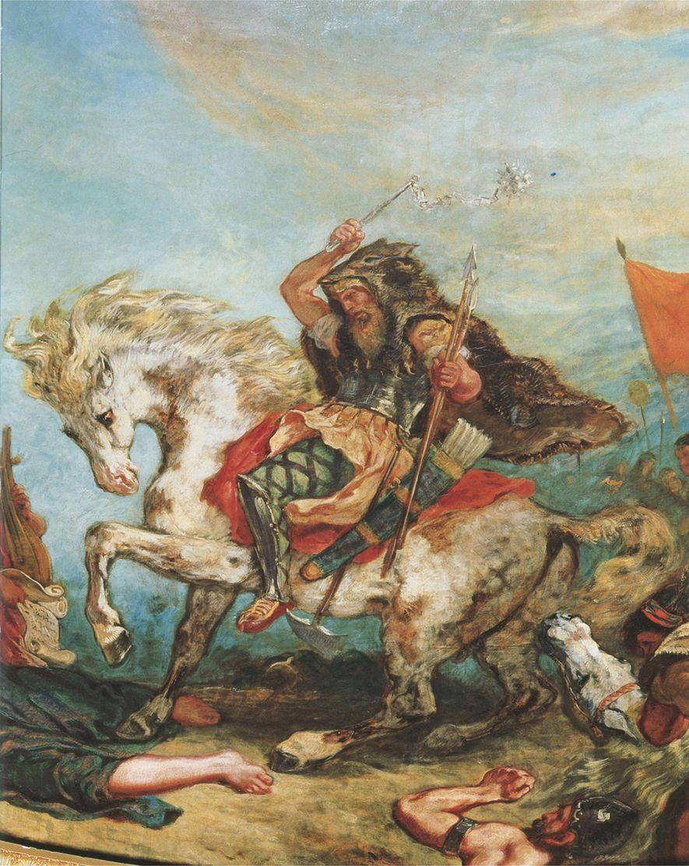 Atila el Huno y su ejército atacan a caballo en un cuadro del pintor francés Eugene ...