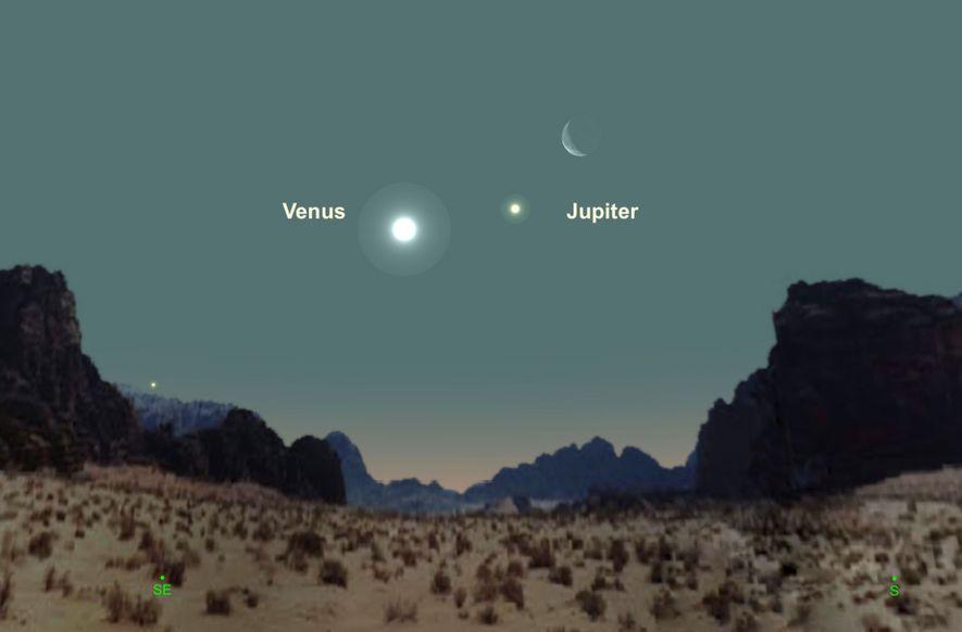 Venus, Júpiter y la luna formarán un impresionante terceto el 30 de enero.