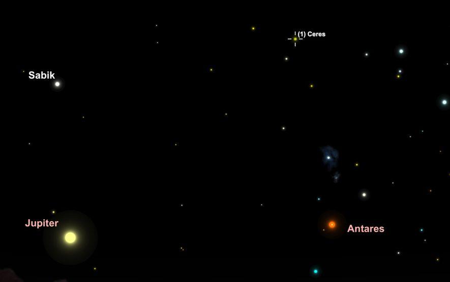 Busca el asteroide Ceres cuando atraviese las constelaciones Ofiuco y Escorpio el 28 de mayo.
