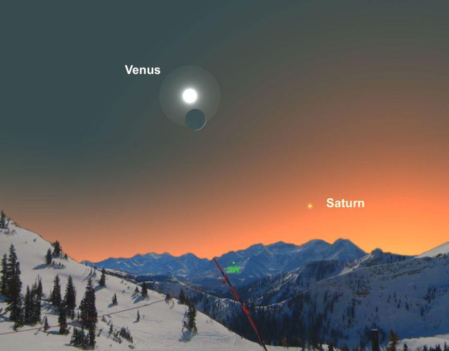 Venus estará sobre la luna creciente el 28 de diciembre.