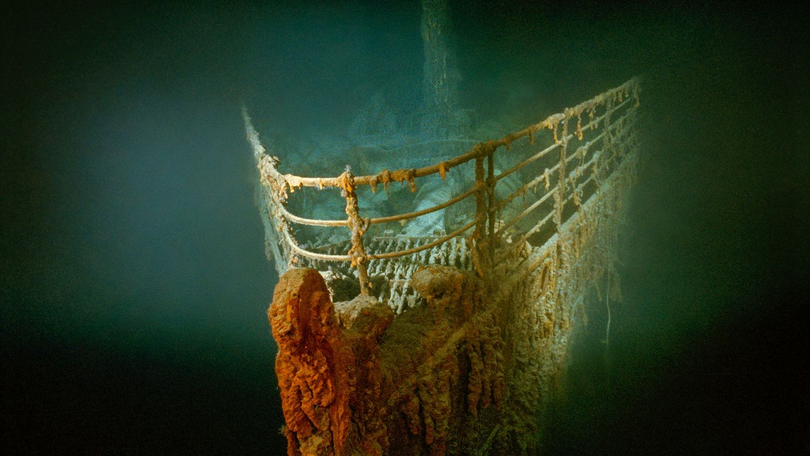 The rusted prow (bow) of the Titanic rests on the bottom of the North Atlantic.