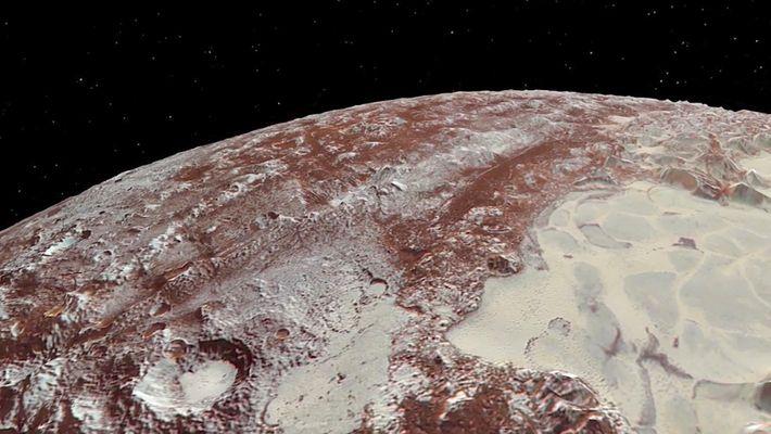 Esta animación nos muestra los extraordinarios detalles de Plutón y su luna, Caronte
