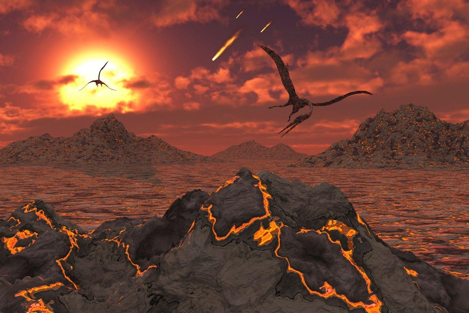 Los pterosaurios sobrevuelan un paisaje volcánico durante la extinción en masa que acabó con los dinosaurios ...