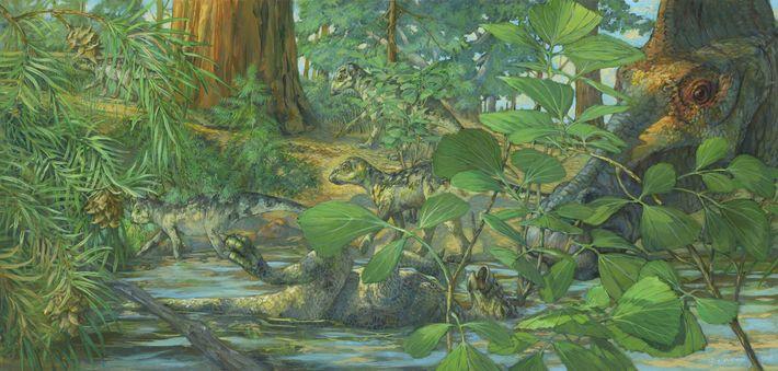 Reconstrucción del terreno de anidación del Hypacrosaurus stebingeri