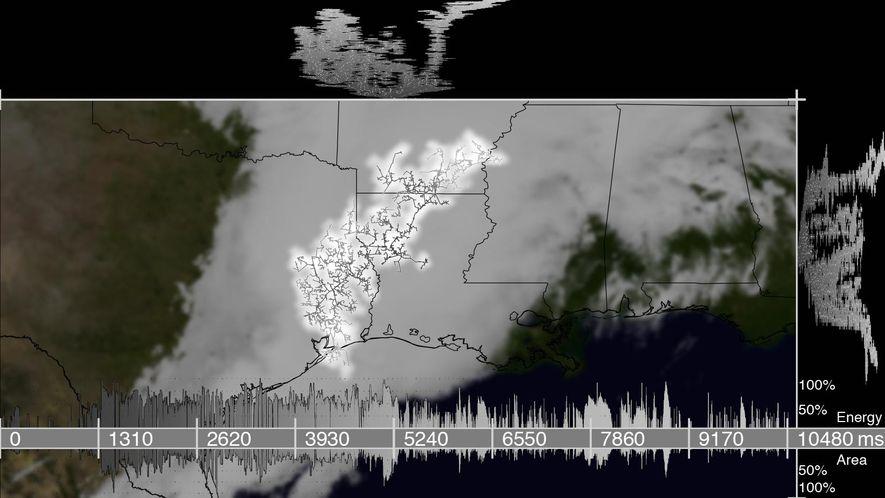 Este mapa muestra el mayor relámpago detectado en datos por satélite. Su huella abarcaba unos 115 ...