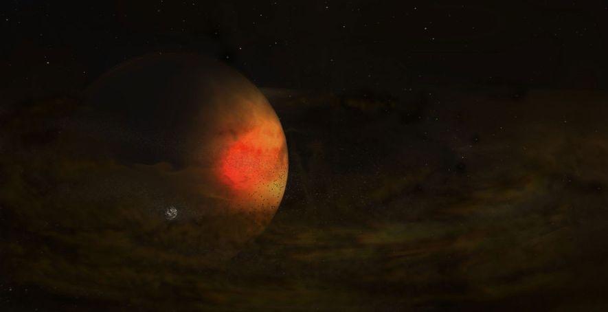 Un tenue disco que rodea un gran planeta, que posiblemente generó una nueva luna, en una ...