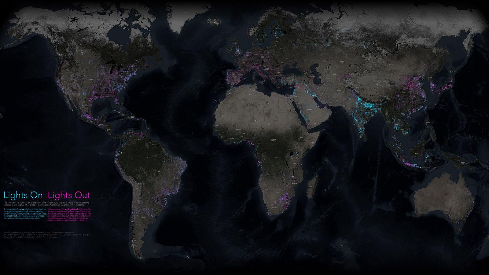 Mapa de iluminación nocturna