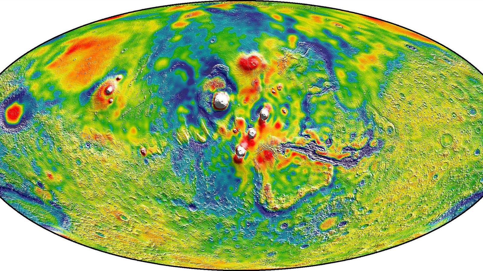 Mapa de la gravedad de Marte de la NASA