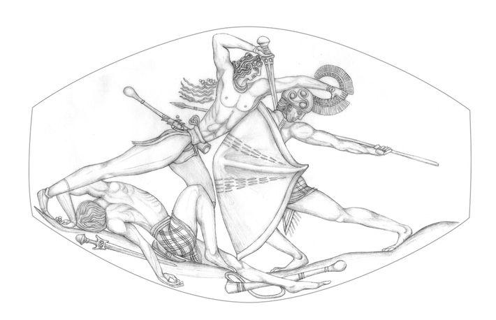 Representación del combate de Pilos
