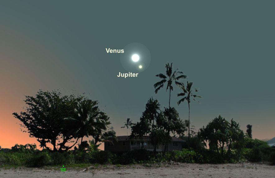 Busca el emparejamiento de Venus y Júpiter el día 22 de enero.