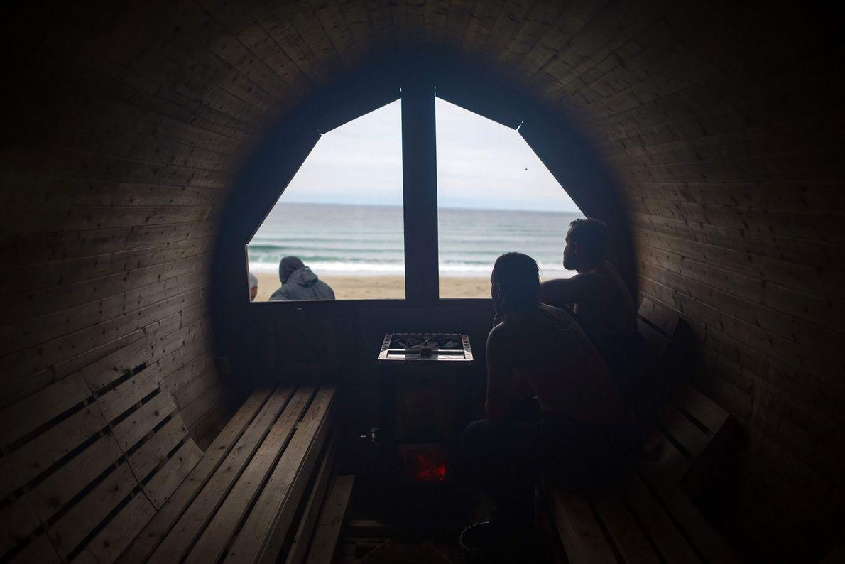 Deportistas en una sauna