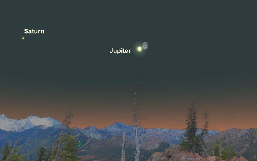 El brillante Júpiter estará muy cerca de la luna gibosa menguante el 23 de abril.
