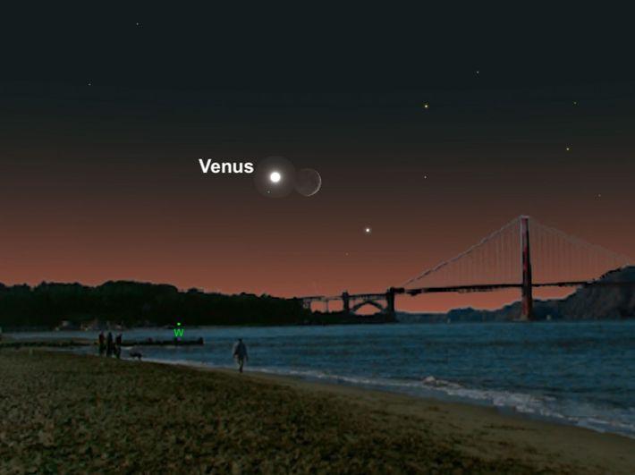 Venus y la luna creciente