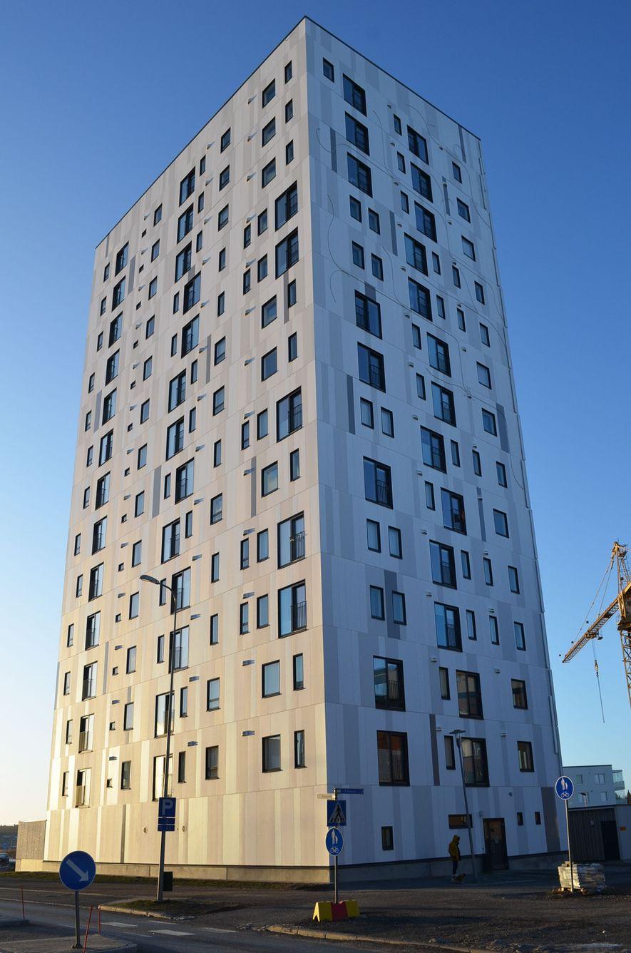 Esta residencia para estudiantes universitarios en Joensuu, Finlandia, está hecha casi por completo de madera.