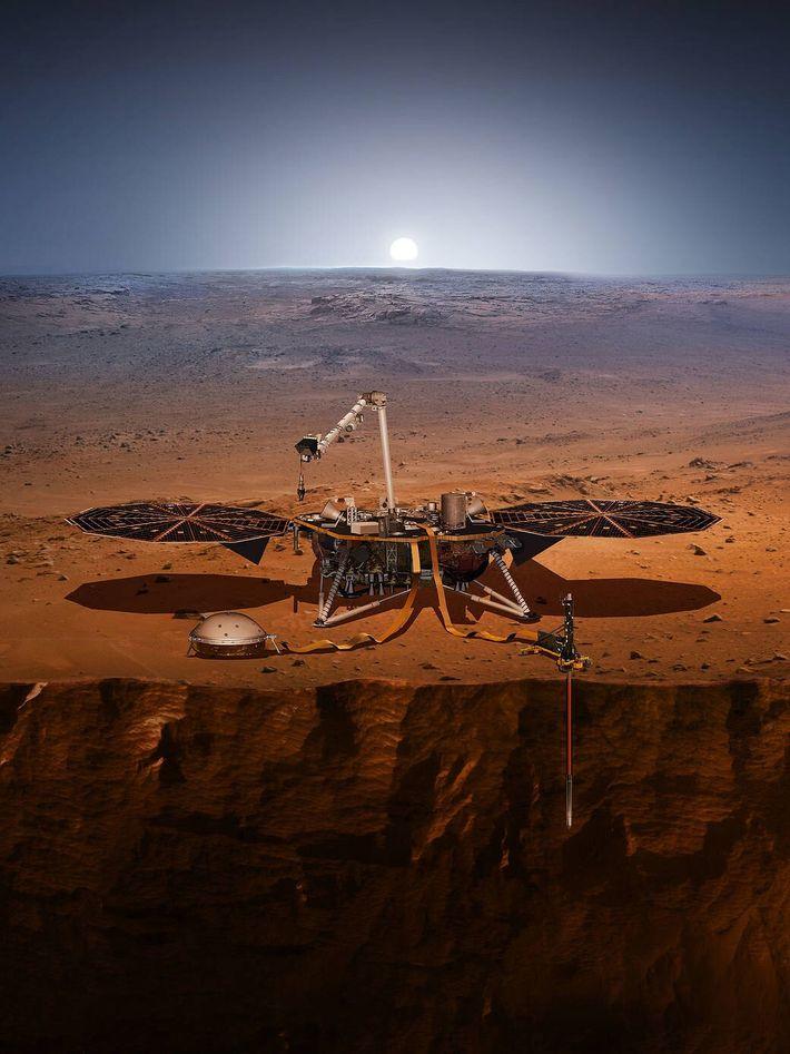 Ilustración del módulo de aterrizaje InSight en Marte