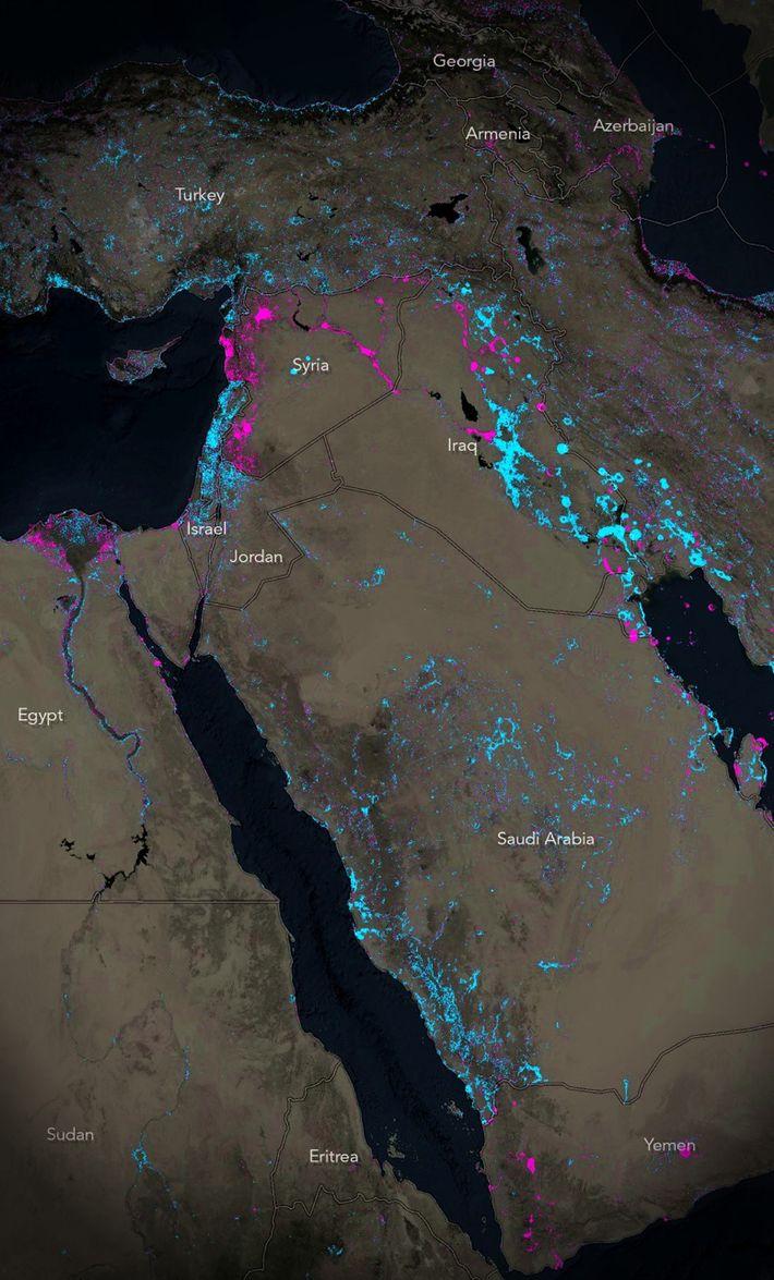 Mapa de luces en Siria