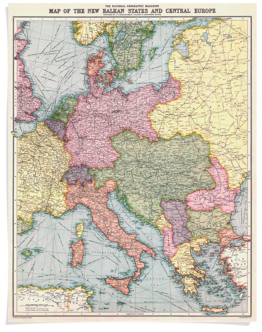 En agosto de 1914, la revista National Geographic publicó un mapa de Europa y los estados ...