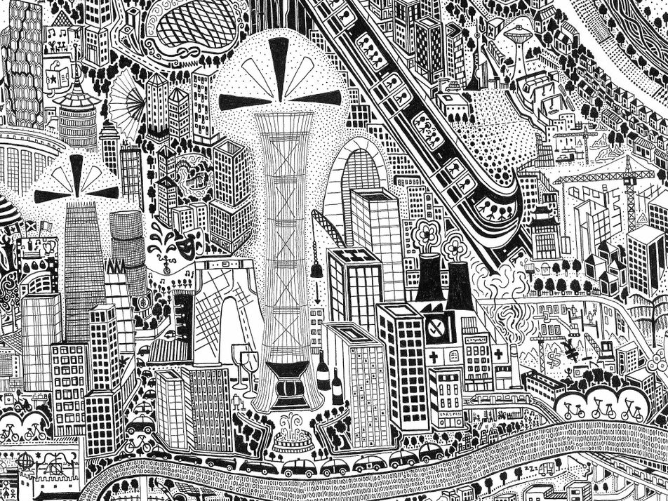 Un mapa de Pekín dibujado a mano