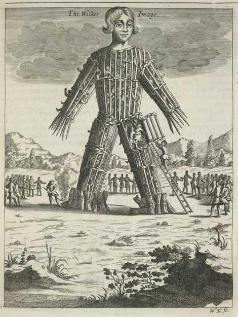 Representación del siglo XVII del hombre de mimbre, una práctica celta sugerida por Julio César que ...