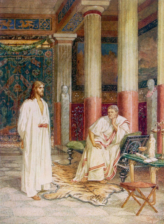 El gobernador romano Poncio Pilato interrogó a Jesús y ordenó su ejecución, según los Evangelios cristianos.