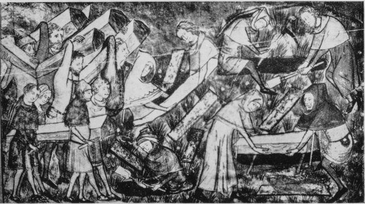 Entierro de víctimas de la peste