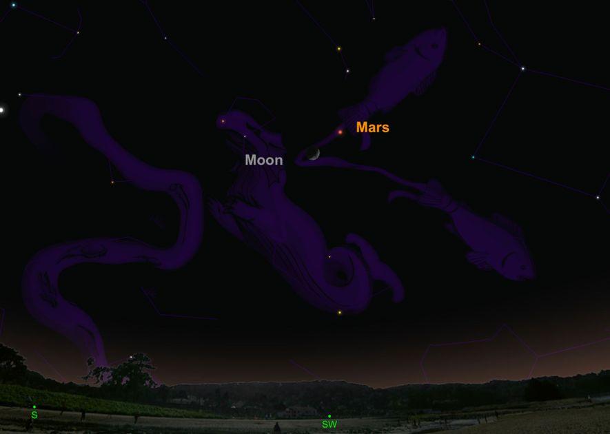 Busca el planeta rojo, que estará situado cerca de la luna creciente el 10 de febrero.