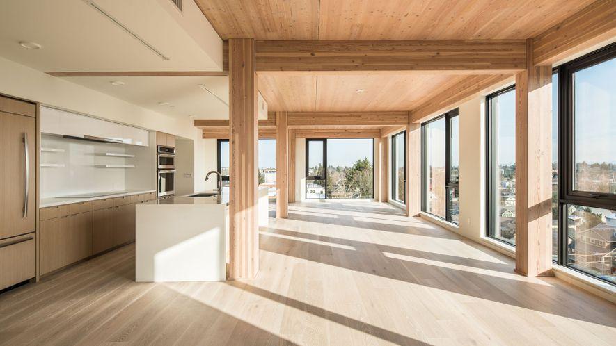 Carbon12, un edificio de ocho pisos en Portland, Oregón, es el edificio de madera más alto ...
