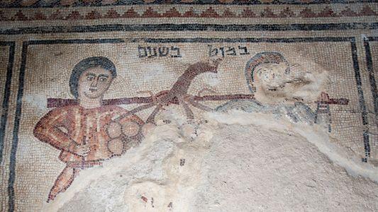 Un mosaico de 1.500 años de antigüedad representa a dos «espías» bíblicos