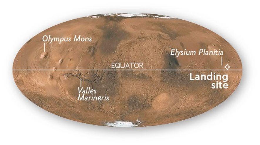 InSight ha aterrizado en la Elysium Planitia, cerca del ecuador marciano.