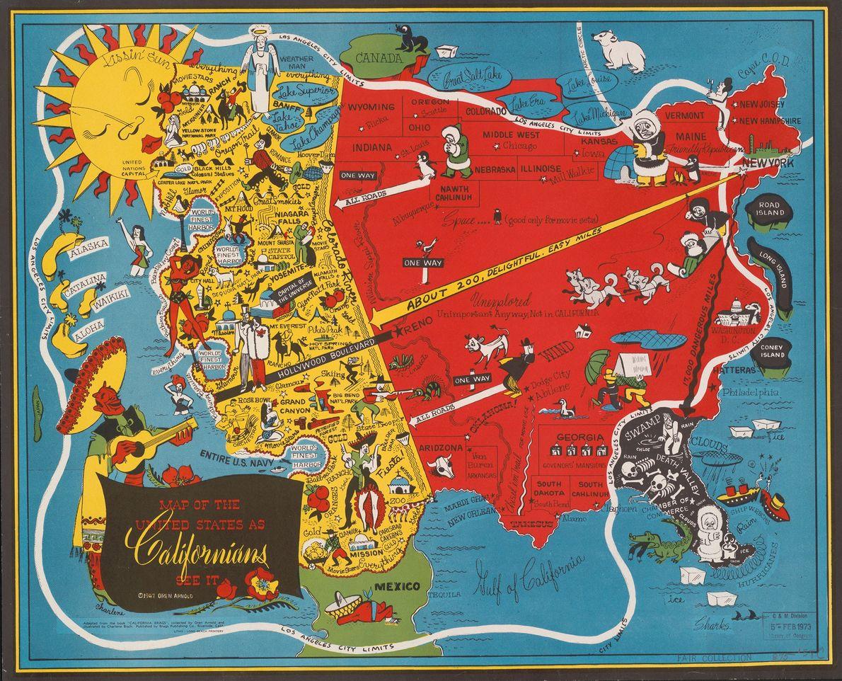 Todos los caminos llevan a California—literalmente—en este fantástico mapa de 1947.