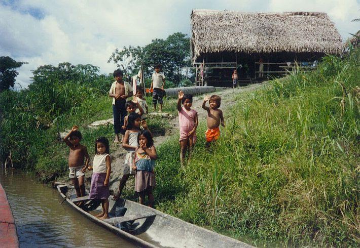 Fotografía de niños en el Amazonas