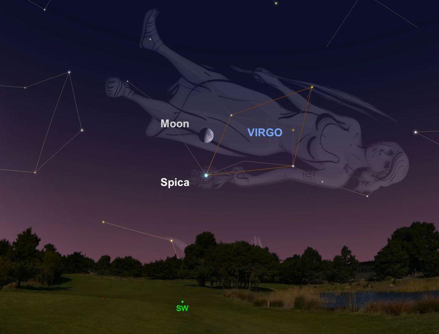 También el 9 de julio, busca la luna gibosa creciente, que colgará sobre la estrella azul ...
