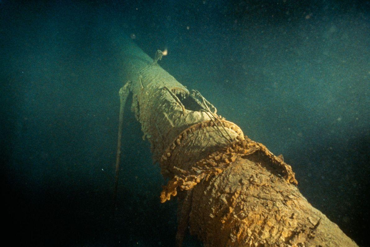 El mástil delantero del Titanic muestra la posición del puesto del vigía, que ha desaparecido.