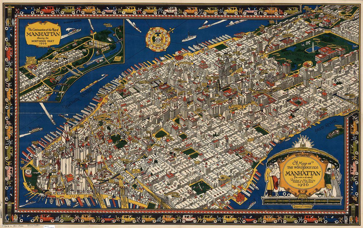 Este mapa de 1928 presenta una colorida vista de pájaro de Manhattan.