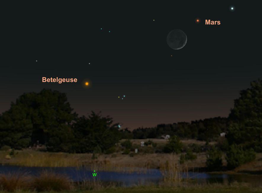 El 7 de mayo, Marte estará cerca de la luna en los cielos occidentales.