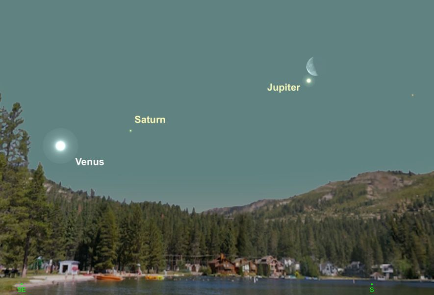 El brillante Júpiter se encontrará especialmente cerca de la luna el 27 de febrero.