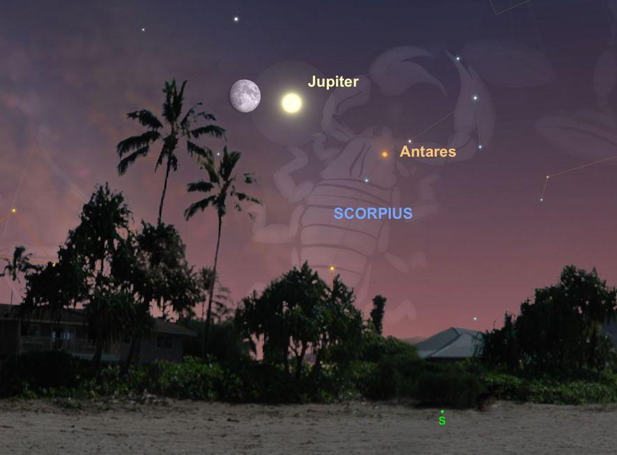 La Luna se acercará a Júpiter el 13 de julio.