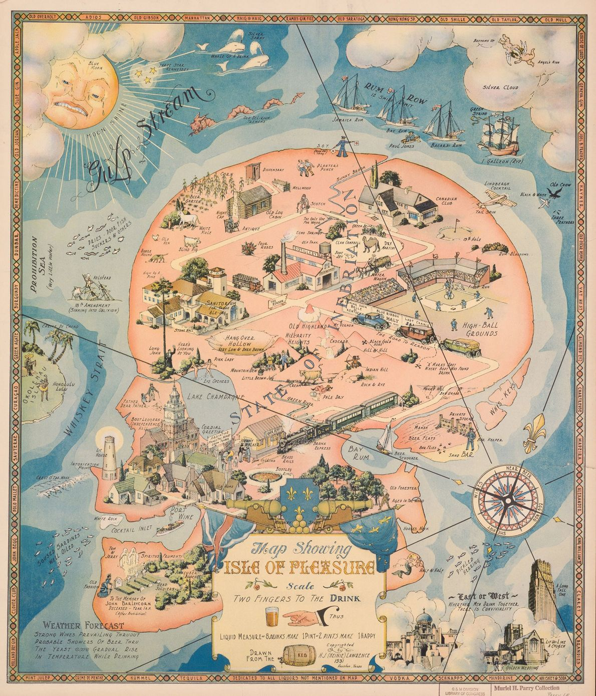 """Creado en 1931, durante la Prohibición, este mapa con forma de calavera de la """"Isla del …"""