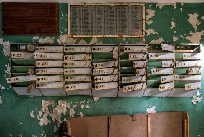 Buzones abandonados en un edificio de Prípiat