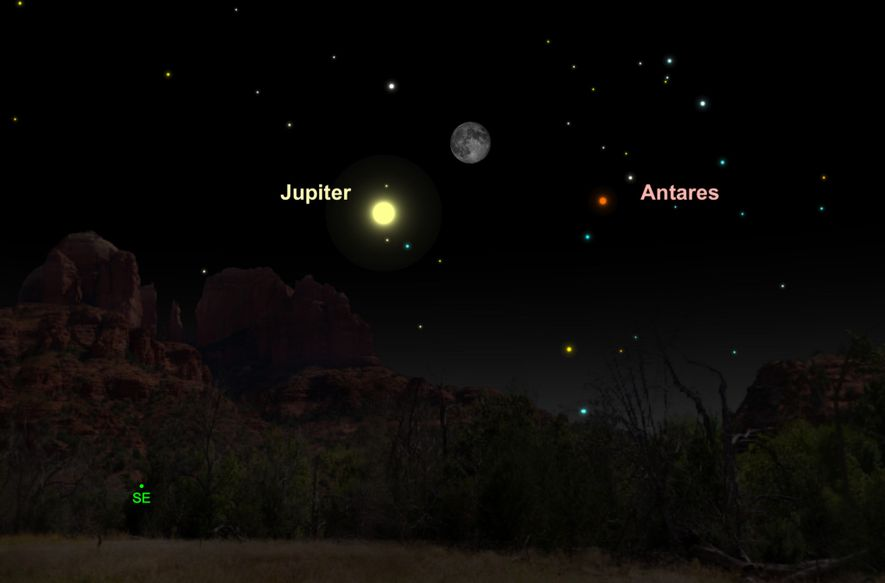 El 20 de mayo, el brillante Júpiter se emparejará con la luna gibosa menguante.