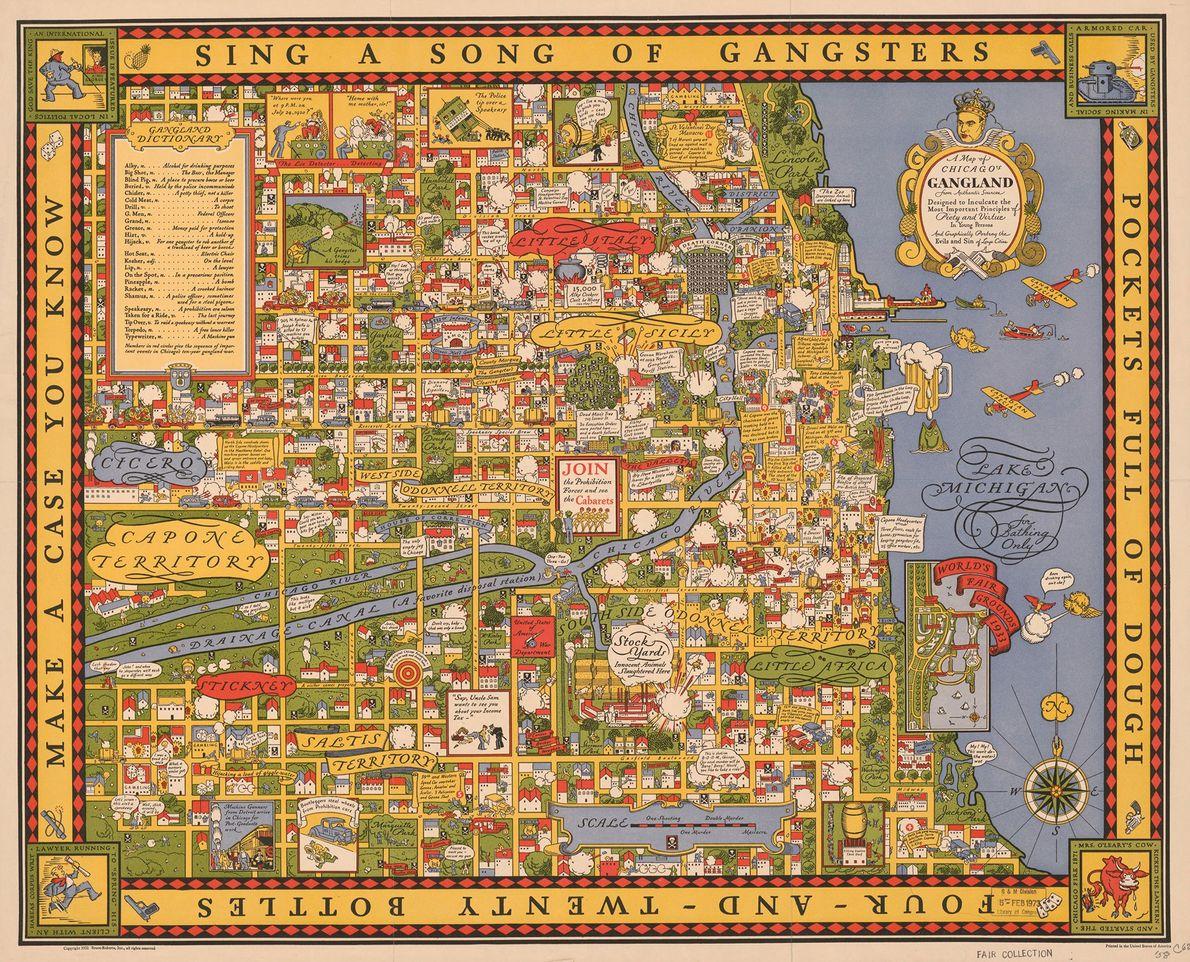 """La cabeza de Al Capone corona el título de este """"Mapa de los Gángsters de Chicago"""" …"""