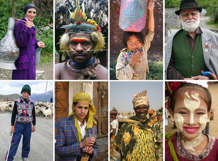 Imagen de personas de varios países visitados por Podell en sus viajes