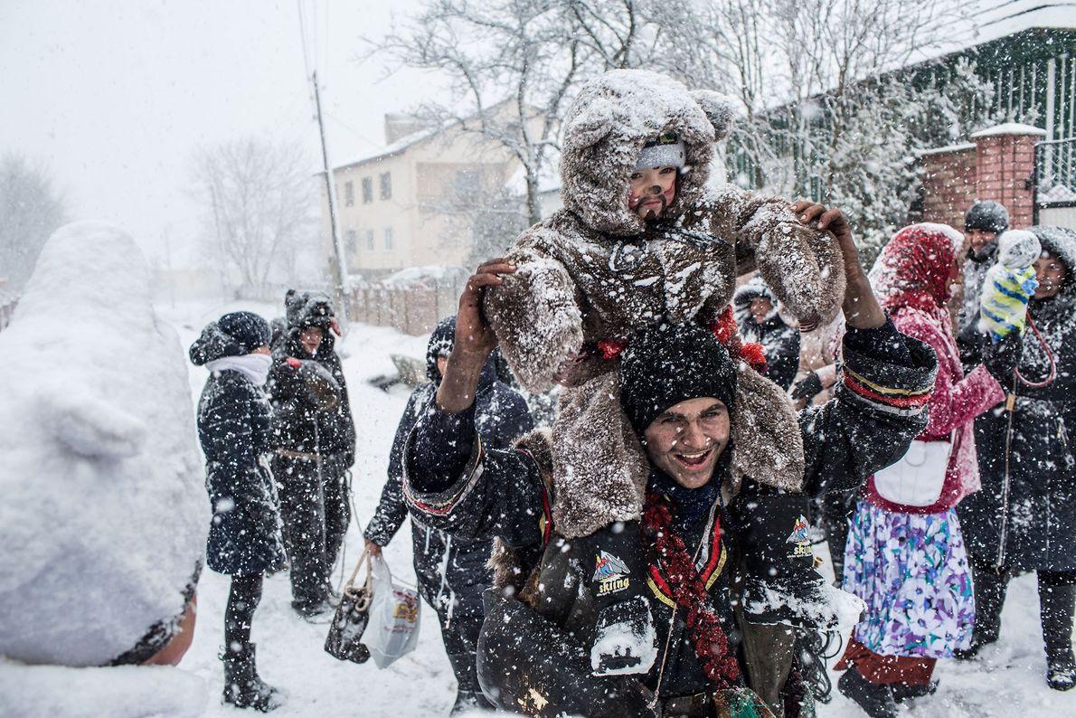 Festejando en la nieve