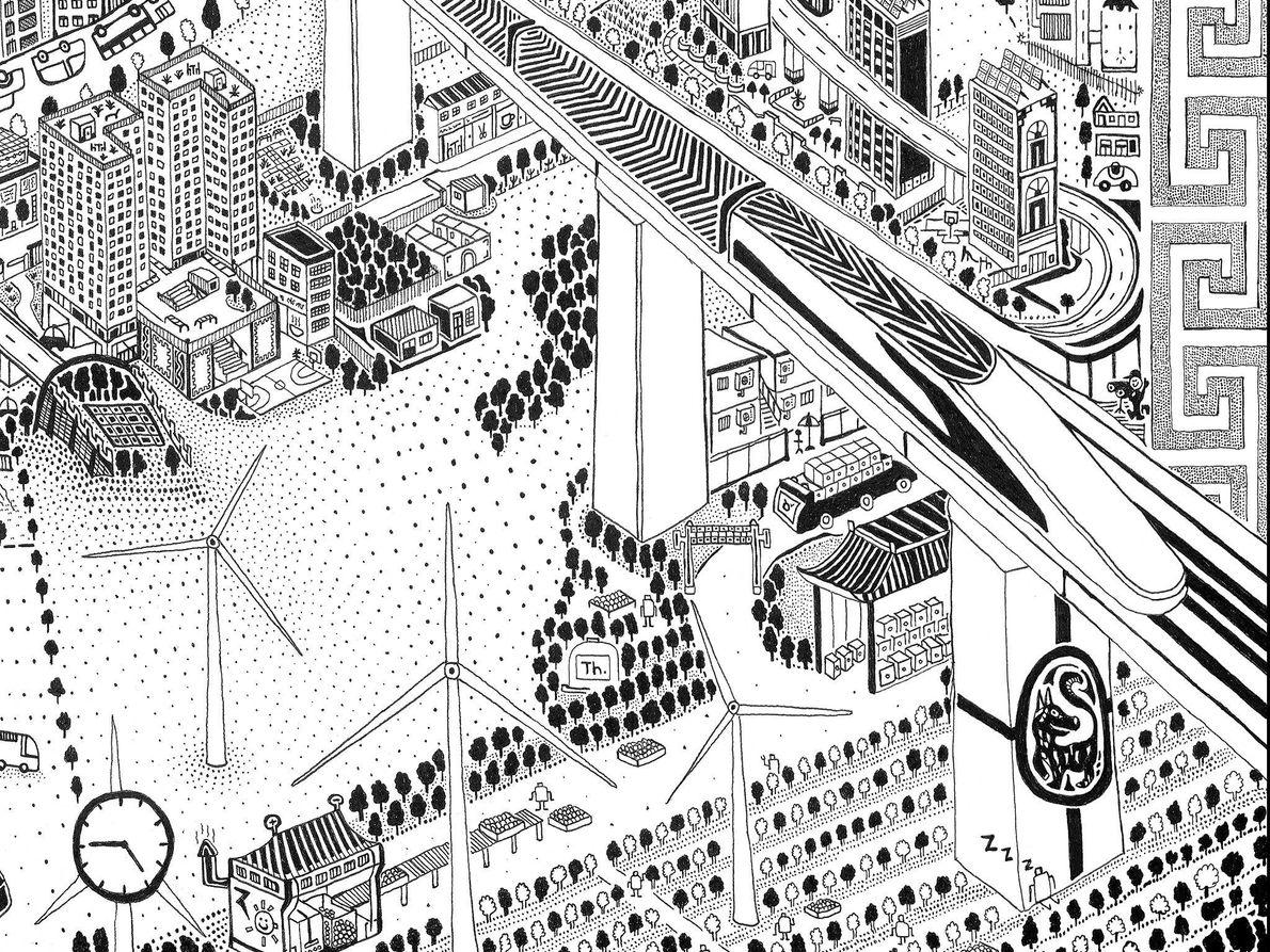 Turbinas eólicas y una operación agrícola