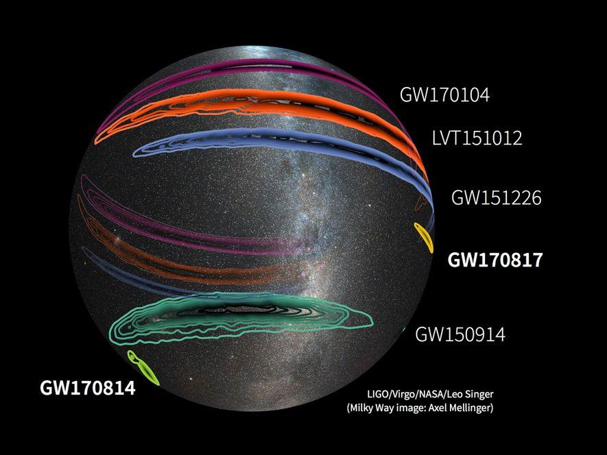 Un mapa muestra las detecciones de ondas gravitacionales